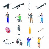 Shooting Sport Icons Set. Isometric Set Of Shooting Sport Vector Icons For Web Design Isolated On Wh poster