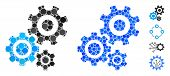 Gear Mechanism Mosaic Of Round Dots In Variable Sizes And Shades, Based On Gear Mechanism Icon. Vect poster
