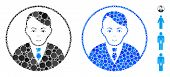 Rounded Gentleman Mosaic Of Filled Circles In Various Sizes And Color Tinges, Based On Rounded Gentl poster