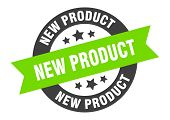 New Product Sign. New Product Black-green Round Ribbon Sticker poster