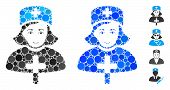 Catholic Lady Doctor Mosaic Of Round Dots In Various Sizes And Color Hues, Based On Catholic Lady Do poster