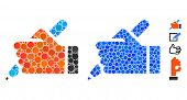 Hand Pencil Mosaic Of Round Dots In Various Sizes And Color Tints, Based On Hand Pencil Icon. Vector poster
