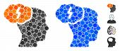 Brainstorm Mosaic Of Round Dots In Variable Sizes And Color Hues, Based On Brainstorm Icon. Vector D poster