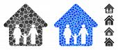 Family Home Mosaic Of Spheric Dots In Different Sizes And Shades, Based On Family Home Icon. Vector  poster