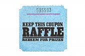 stock photo of raffle prize  - A classic raffle drawing ticket stub for prize redemption - JPG