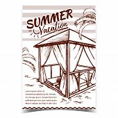 Summer Vacation Beach Advertising Poster Vector. Deck Chairs Under Canopy Under Sunshade On Beach. E poster