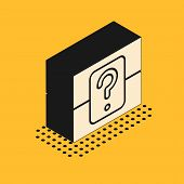 Isometric Mystery Box Or Random Loot Box For Games Icon Isolated On Yellow Background. Question Box. poster