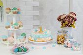 Candy Bar With Cake, Cup Cakes And Cake Pops On A Light Background. Green, Blue, Pink Colors. poster