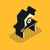 Isometric Table Saw For Woodwork Icon Isolated On Yellow Background. Power Saw Bench. Vector Illustr poster
