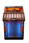 foto of jukebox  - Retro jukebox with neon lights isolated on white - JPG