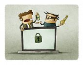 Man Pays A Thief For A Key To Unlock His Computer. Ransomware Virus Concept poster