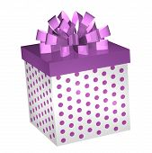 Purple Gift Box With Ribbon