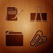 Set Paper Clip, Blank Notebook And Pencil With Eraser, Document Folder And Binder Clip On Wooden Bac poster