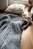 Cozy Home Concept, Danish Hygge Style And Their Art Of Happy Life, Mood Of Coziness With Feelings Of poster