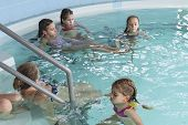 Girls Swim In The Pool. Happy Girls Play In The Pool.beautiful Girls Swim And Having Fun In Water.ac poster