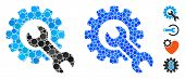 Service Tools Mosaic Of Circle Elements In Various Sizes And Color Tinges, Based On Service Tools Ic poster