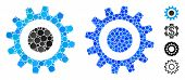 Cogwheel Composition Of Round Dots In Variable Sizes And Color Tones, Based On Cogwheel Icon. Vector poster