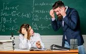 Problem Solving. Bearded Man And Sexy Woman Consider Problem At Lesson. Problem At School. Education poster