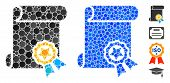 Certificate Mosaic Of Filled Circles In Various Sizes And Color Tones, Based On Certificate Icon. Ve poster