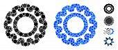 Gear Mosaic Of Round Dots In Variable Sizes And Color Tones, Based On Gear Icon. Vector Round Dots A poster