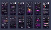 Set Of Ui, Ux, Gui Screens Fitness App Flat Design Template For Mobile Apps, Responsive Website Wire poster