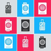 Set Suitcase For Travel And Stickers, Passport With Ticket And Passport With Biometric Data Icon. Ve poster