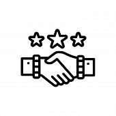 Black Line Icon For Partnership Copartnership  Teamwork Handshake Complicity poster