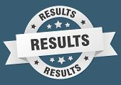 Results Ribbon. Results Round White Sign. Results poster