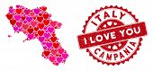 Love Collage Campania Region Map And Distressed Stamp Seal With I Love You Text. Campania Region Map poster