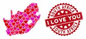 Love Collage South African Republic Map And Grunge Stamp Watermark With I Love You Message. South Af poster