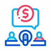 Hosts Microphone Dollar Icon Vector. Outline Hosts Microphone Dollar Sign. Isolated Contour Symbol I poster