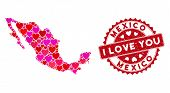 Love Collage Mexico Map And Corroded Stamp Seal With I Love You Message. Mexico Map Collage Formed W poster