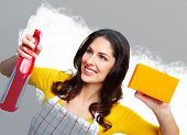 Young smiling housewife. Housework background.
