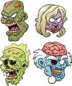 stock photo of radioactive  - Cartoon zombie heads - JPG