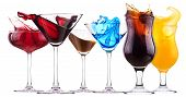 stock photo of curacao  - alcoholic cocktail set splash  - JPG