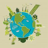 stock photo of sustainable development  - Go green concept world - JPG