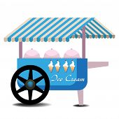 picture of meals wheels  - Covered ice cream cart with various types of ice cream - JPG