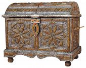 image of jewel-case  - Traditional handmade Moroccan chest isolated on white background - JPG