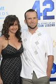 LOS ANGELES - APR 9: Lucas Black, wife Maggie O'Brien at the Los Angeles Premiere of '42' at TCL Chi