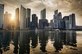 foto of marina  - Singapore city in sunset time - JPG