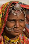 stock photo of rajasthani  - Portrait of a India Rajasthani woman closeup - JPG