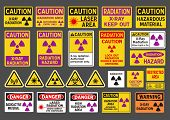 stock photo of radioactive  - Vector pack of differents radiation  - JPG