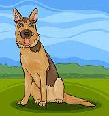 stock photo of alsatian  - Cartoon Illustration of Funny German Shepherd or Alsatian Purebred Dog - JPG