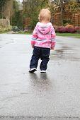 foto of girl walking away  - Little one year old girl walking away from the camera - JPG