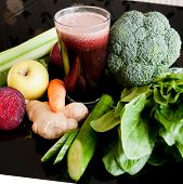 stock photo of beet  - healthy juice made of organic fresh fruits and vegetables - JPG