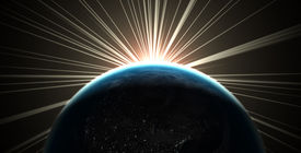 foto of planet earth  - 3d render of the earth with sunlight rays - JPG