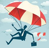 image of parachute  - Great illustration of Retro styled Businessman who - JPG