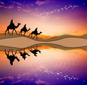 stock photo of magi  - illustration of Magi Kings following the star of Bethlehem - JPG