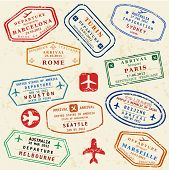 stock photo of turin  - Colorful fictitious visa stamps set - JPG