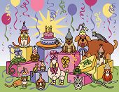 picture of parti poodle  - Illustration of pets celebrating at a party - JPG